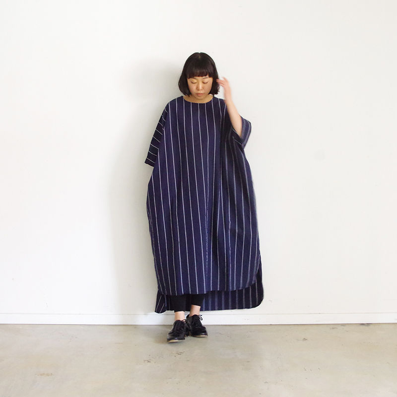 i c h i 181110 C/L Stripe Dress / Navy Stripe