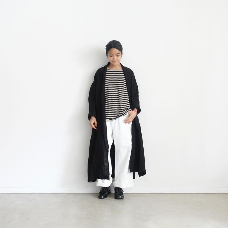 ichiAntiquités 500105 Linen Long Cardigan / BLACK