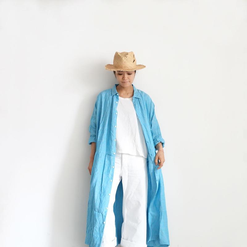 ichiAntiquités 500134 Vacance Linen Shirt Dress / TURQUOISE