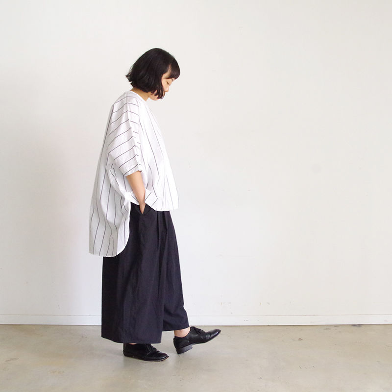 i c h i 181109 C/L Stripe Pullover / White Stripe