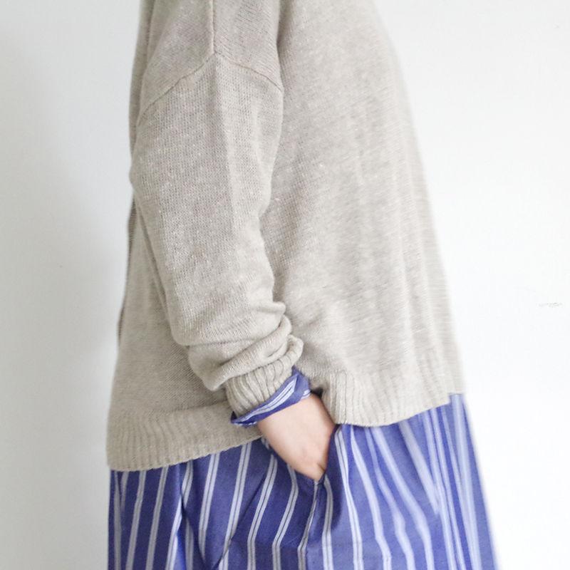 i c h i 181071 Linen 2-Way Knit Pullover / Beige