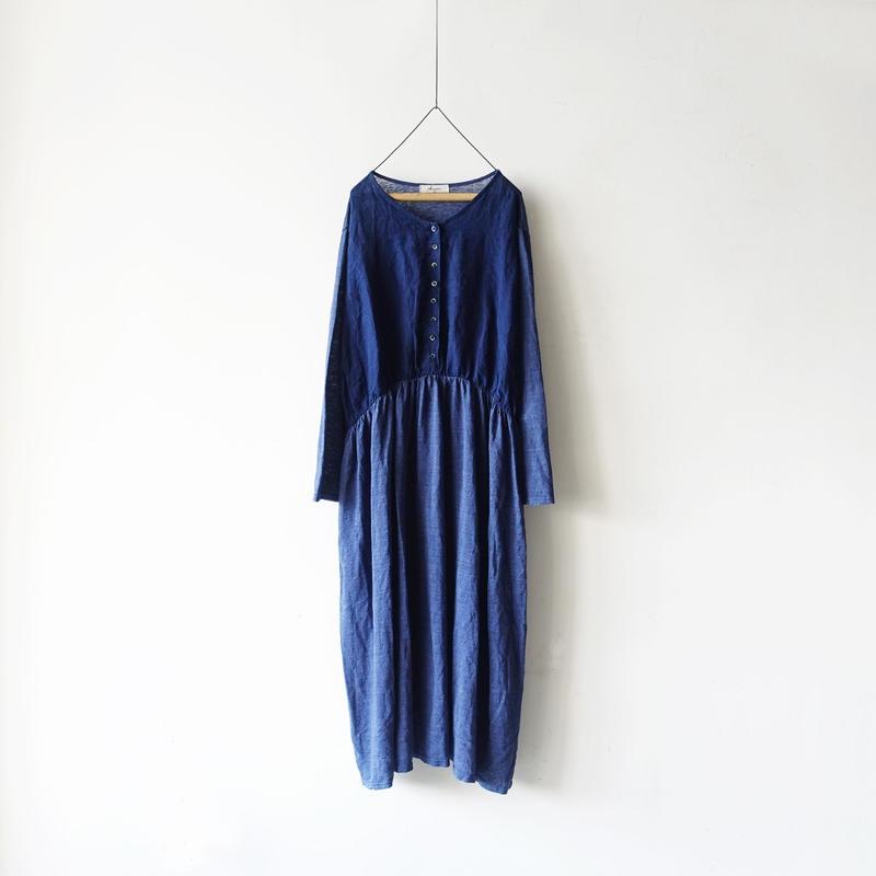 ichiAntiquités 100636  Linen Dress / NAVY