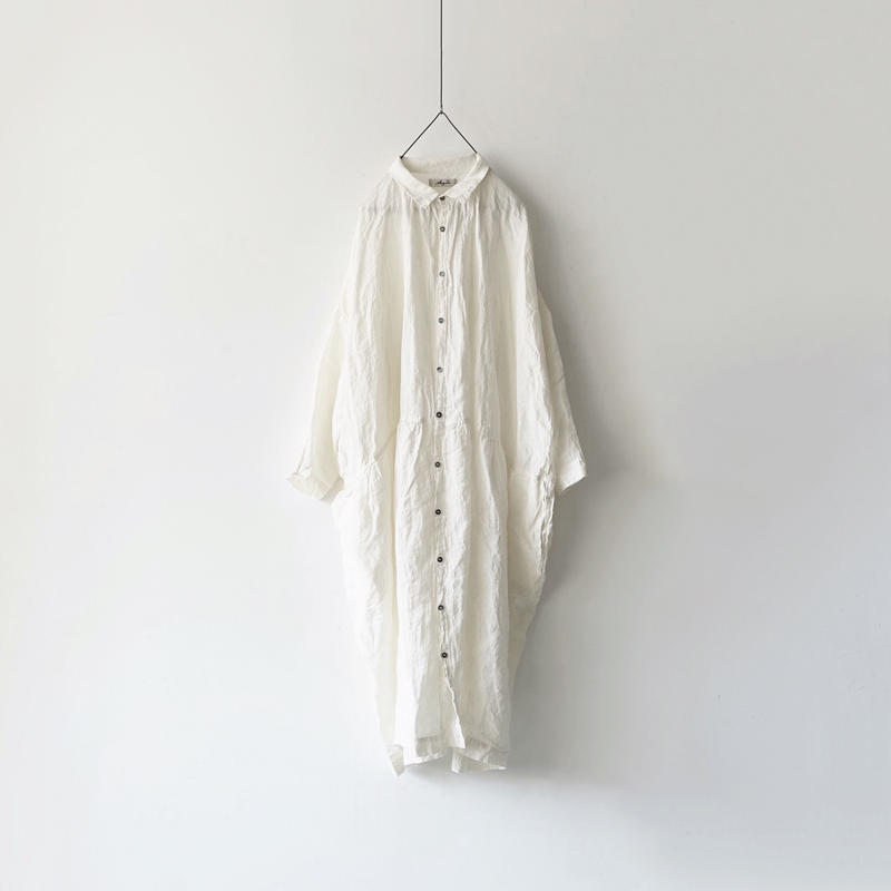 ichiAntiquités 500108 Color Linen Shirt Dress / WHITE