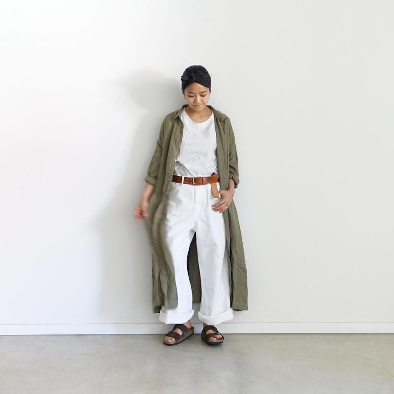 ichiAntiquités 500128 Cotton Linen DENIM Pants / WHITE
