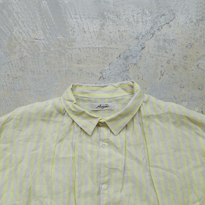ichiAntiquités 500135 Vacance Linen Stripe Shirt Dress / LEMON STRIPE