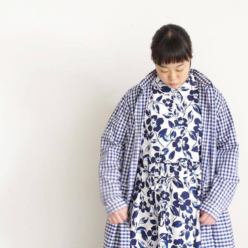 i c h i 181107 Cotton Flower Dress / Blue