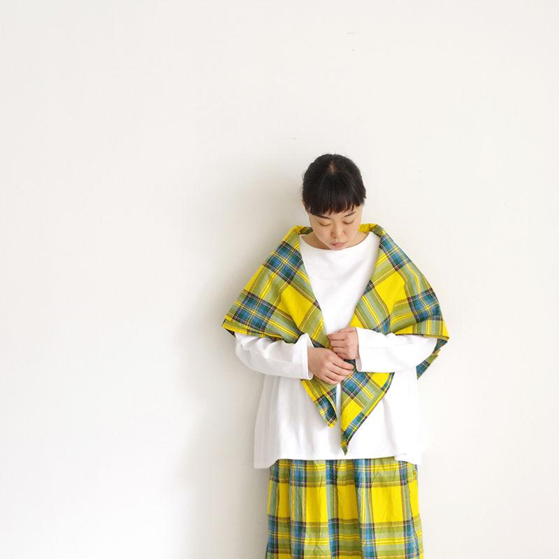 i c h i 181105 Cotton INDIGO Tartan Check Stole / Yellow