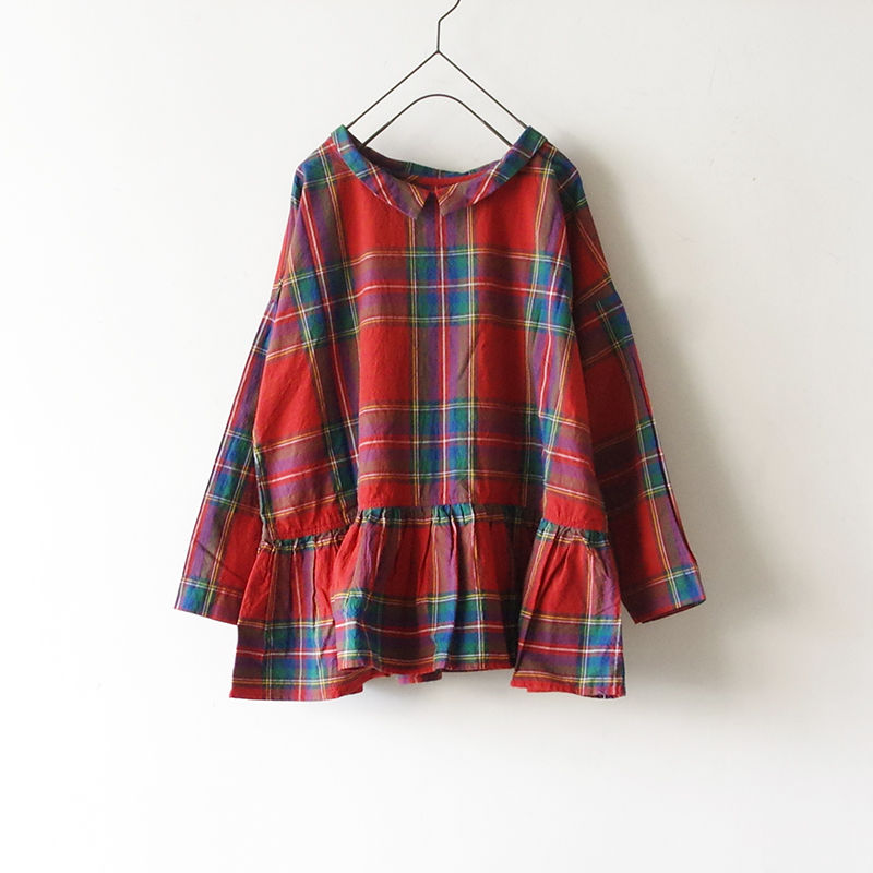 i c h i 181101 Cotton INDIGO Tartan Check Pullover Blouse / Red