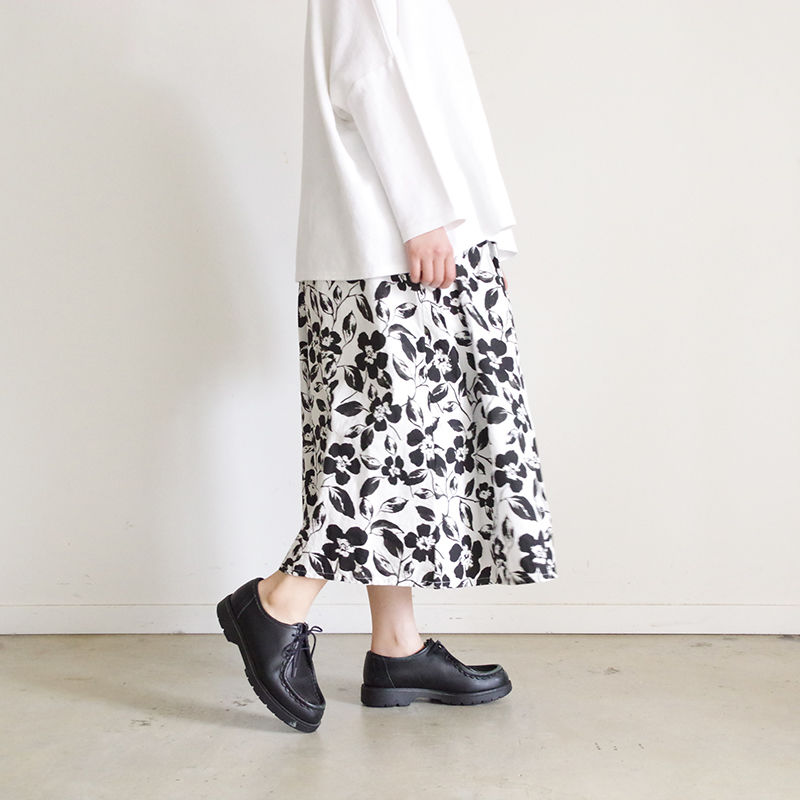 i c h i 181108 Cotton Flower Skirt / Black