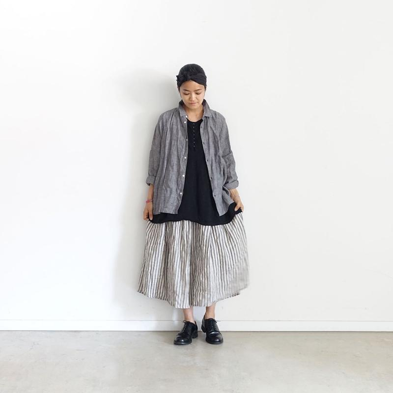 ichiAntiquités 500117 Stripe Linen  Skirt / 3 COLORS