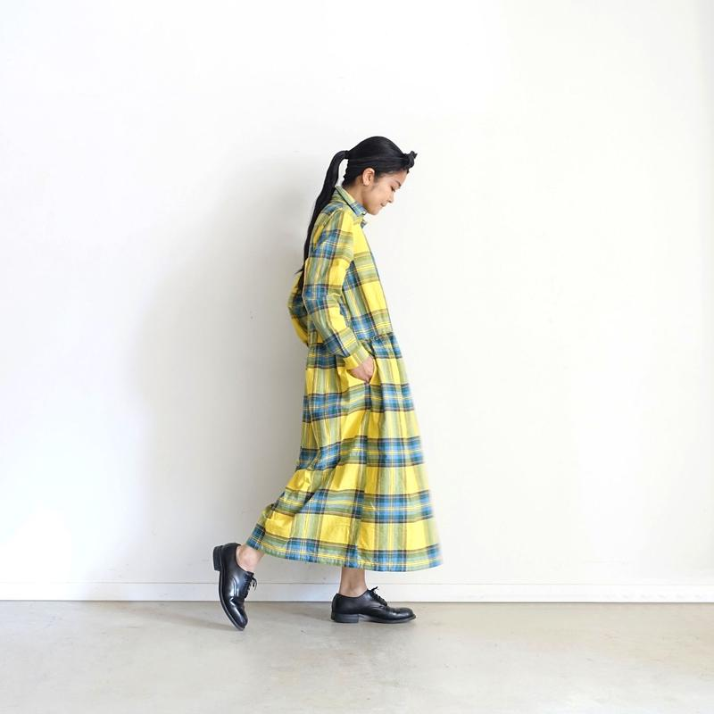 ichi 181138  Cotton INDIGO  Tartan Shirt Dress / YELLOW
