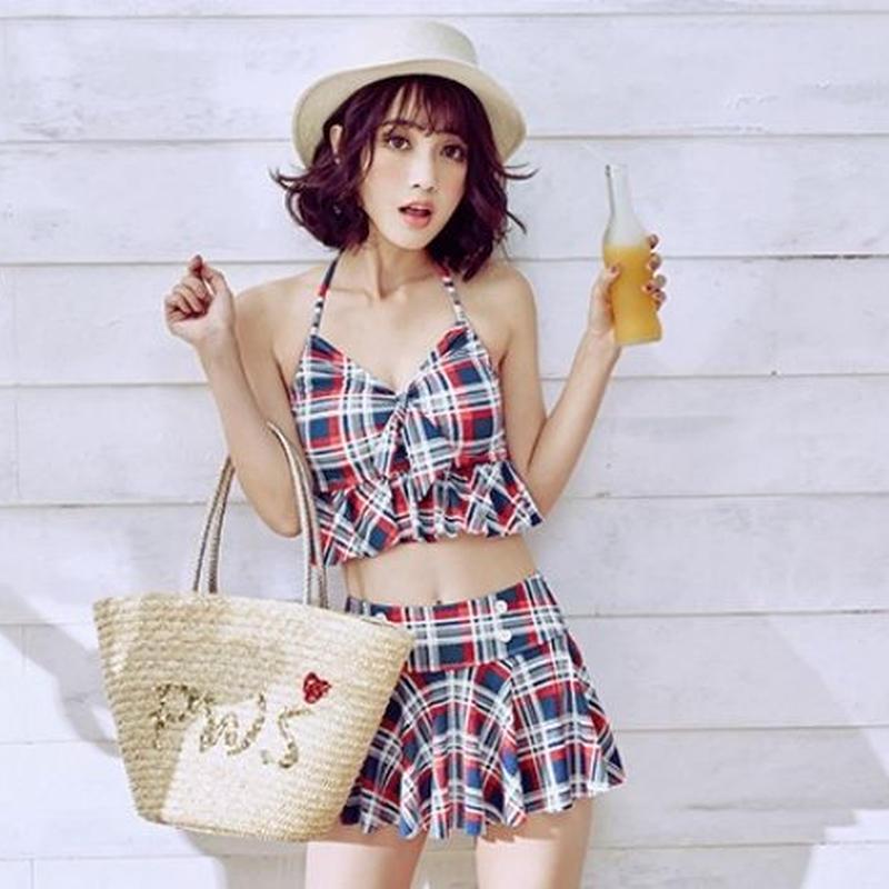 カジュアル ビスチェ ビキニ スカート付き チェック柄 パッド付き リボン レディース 水着