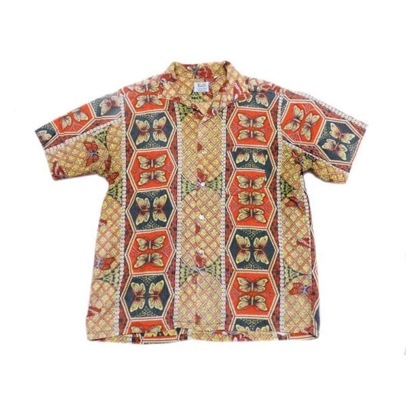 【E&W】 60s オリエンタル+バラフライ柄 半袖シャツ Lサイズ