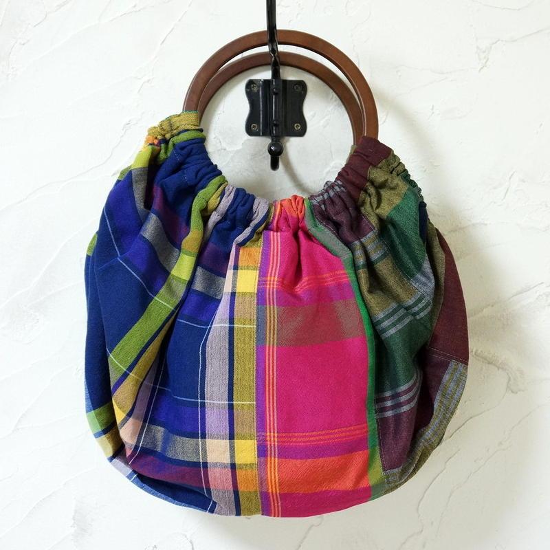 フィリピン手織り布のグラニーバッグ(B)