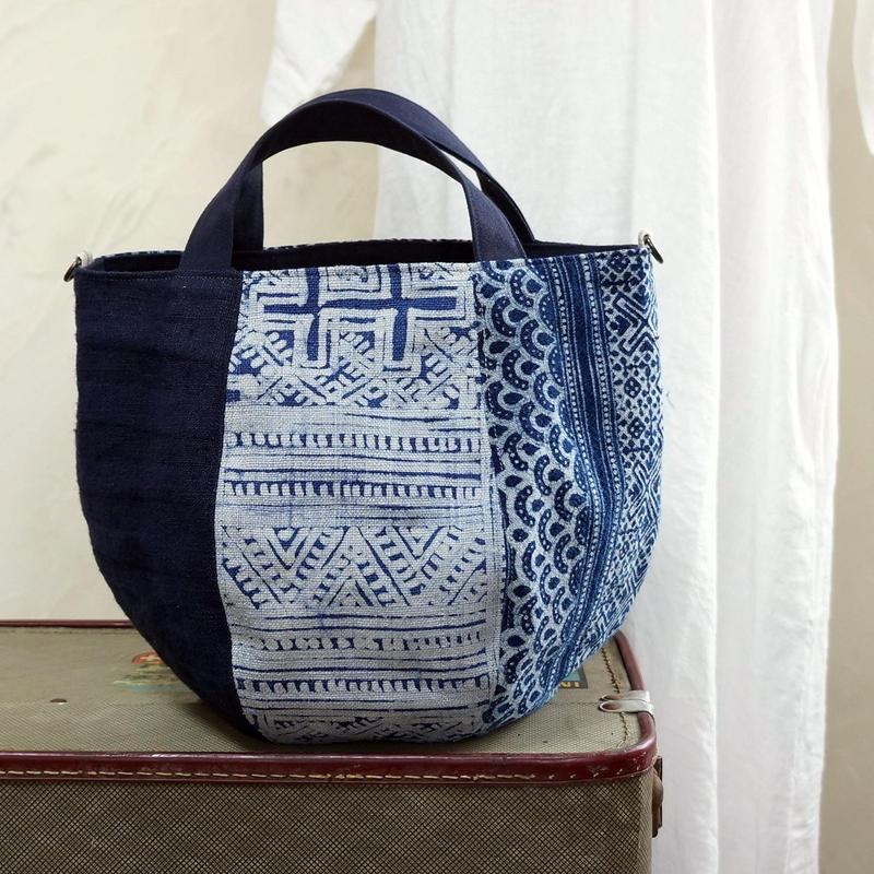 タイの藍染ミックス ボニーバッグSサイズ (D)