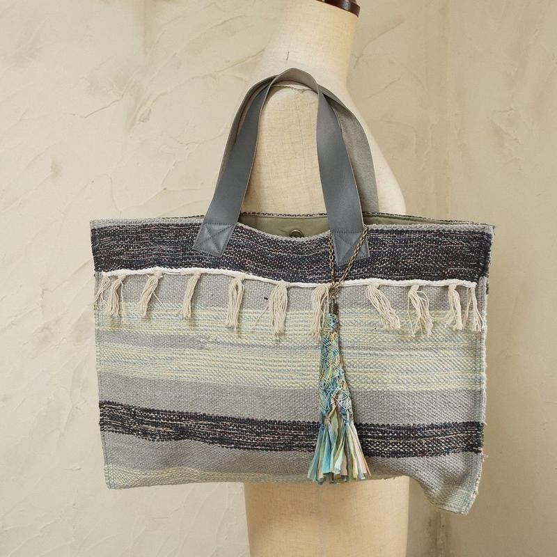 フィリピン手織り布・牛革ハンドルトート(C)