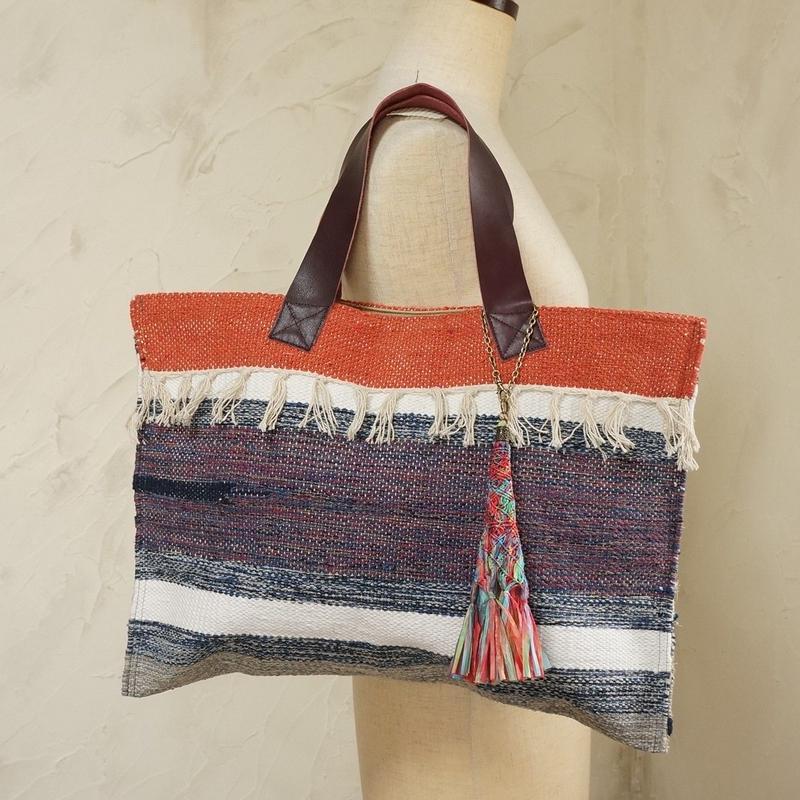 フィリピン手織り布・牛革ハンドルトート(A)