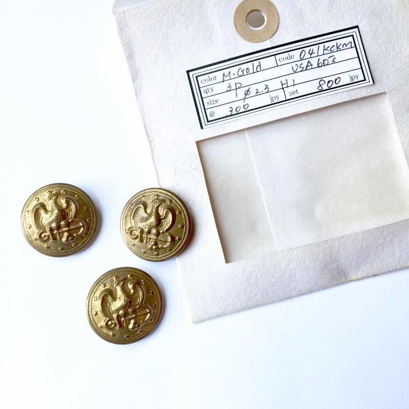 Vintage button/ヴィンテージボタン MGD041/Metal Gold/3pcs set