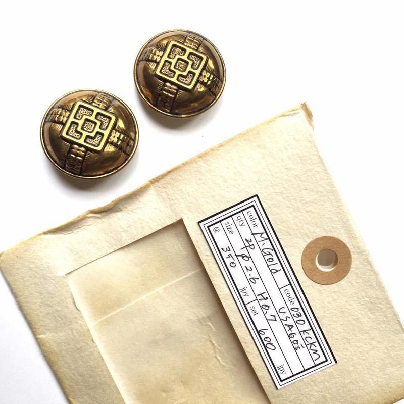 Vintage button/ヴィンテージボタン MGD030/Metal Gold/2pcs set
