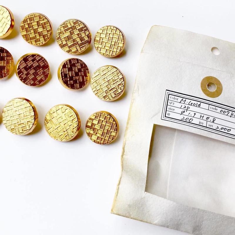 Vintage button/ヴィンテージボタン MGD007/Metal Gold/12pcs set
