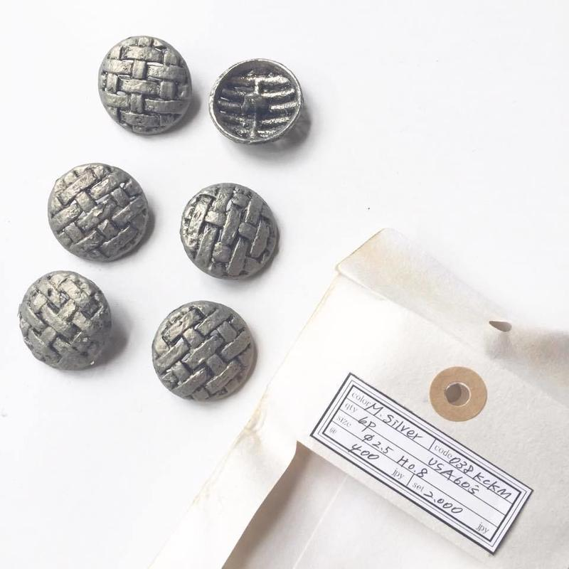 Vintage button/ヴィンテージボタン MSV038/Metal Silver/6pcs set