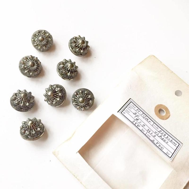 Vintage button/ヴィンテージボタン MSV029/Metal Silver/8pcs set