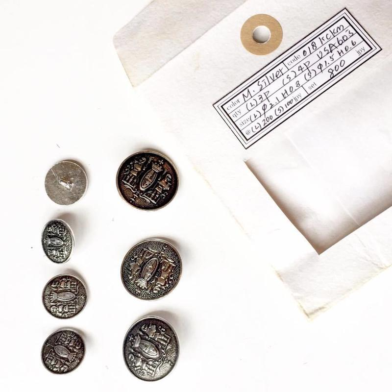 Vintage button/ヴィンテージボタン MSV018/Metal Silver/7pcs set
