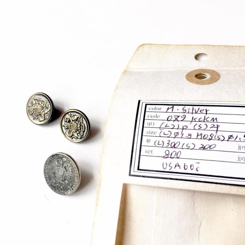 Vintage button/ヴィンテージボタン MSV079/Metal Silver/3pcs set