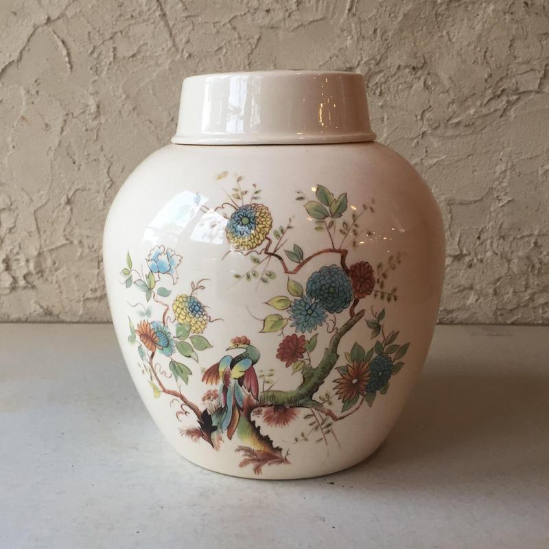 Royal Cauldon ロイヤルコールドン tea caddy jar 紅茶壷 茶葉入 イギリス Vintage