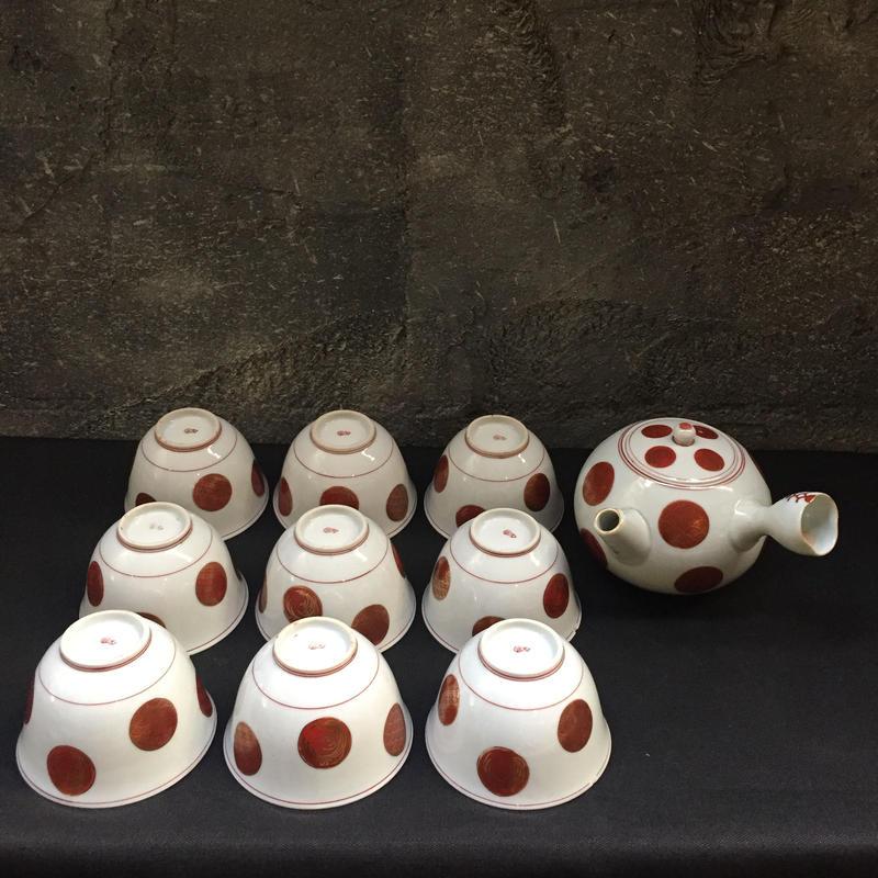 Japan Vintage 古九谷焼 急須 湯呑 湯飲 煎茶碗 9客 飛紋 丸 文 紋 水玉 金