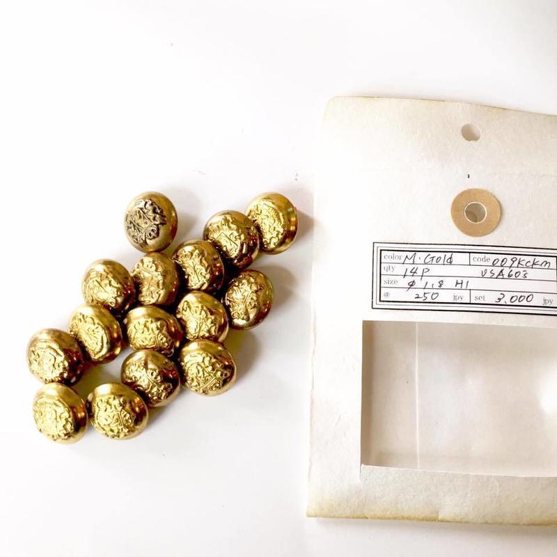 Vintage button/ヴィンテージボタン MGD009/Metal Gold/14pcs set