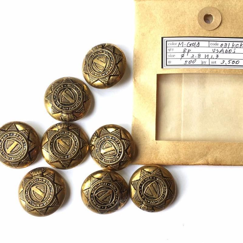Vintage button/ヴィンテージボタン MGD031/Metal Gold/8pcs set