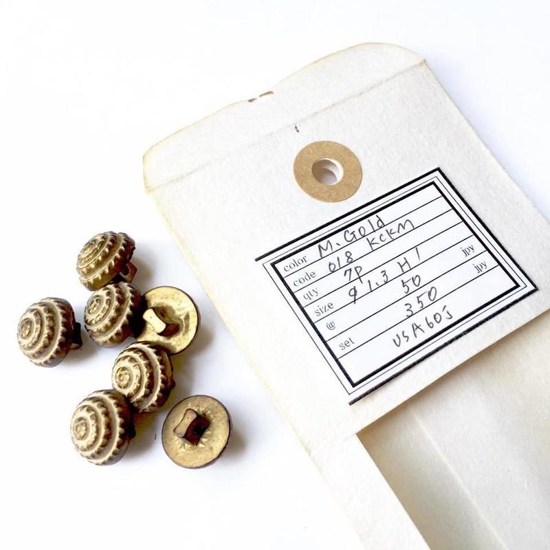 Vintage button/ヴィンテージボタン MGD018/Metal Gold/7pcs set