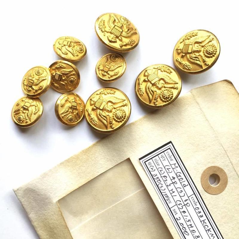 Vintage button/ヴィンテージボタン MGD033/Metal Gold/10pcs set
