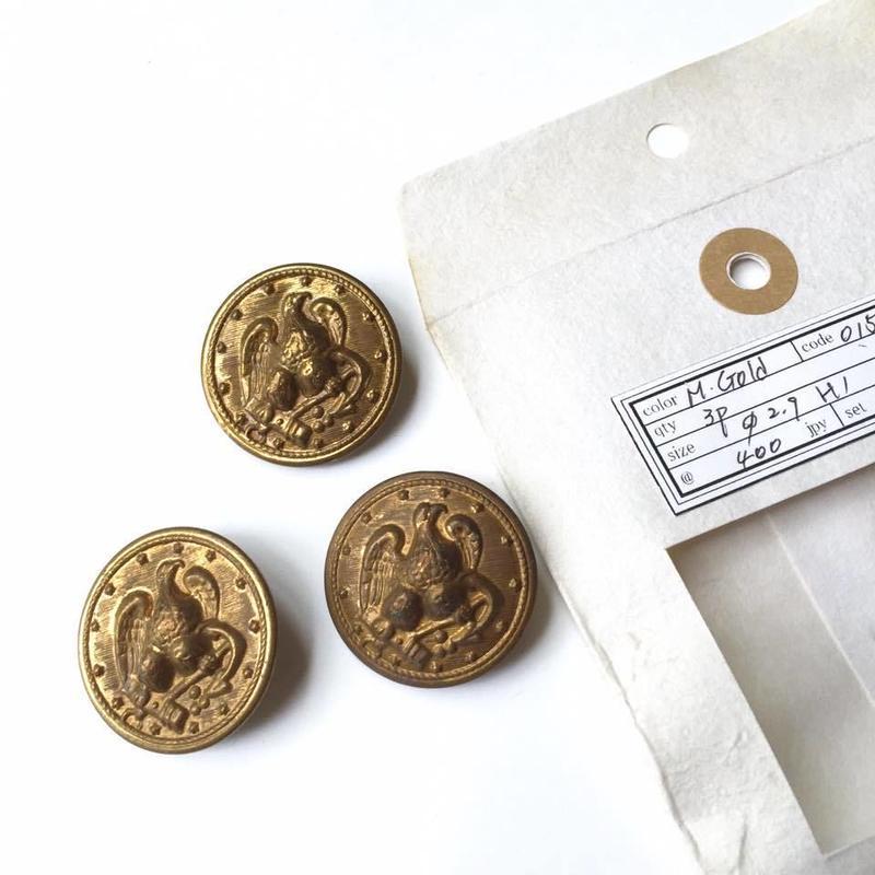 Vintage button/ヴィンテージボタン MGD015/Metal Gold/3pcs set