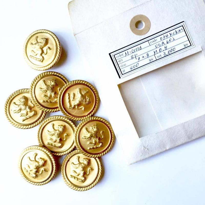 Vintage button/ヴィンテージボタン MGD034/Metal Gold/8pcs set