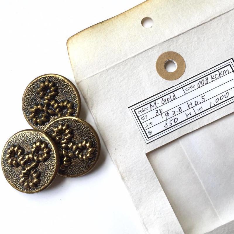 Vintage button/ヴィンテージボタン MGD003/Metal Gold/3pcs set