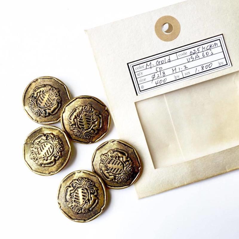 Vintage button/ヴィンテージボタン MGD025/Metal Gold/5pcs set