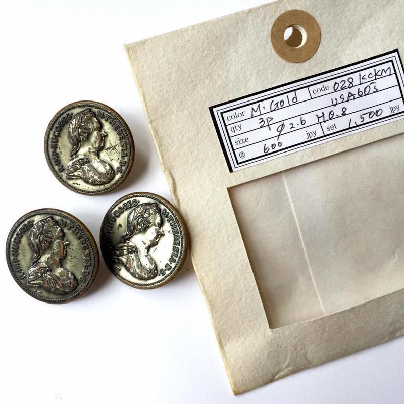 Vintage button/ヴィンテージボタン MGD028/Metal Gold/3pcs set