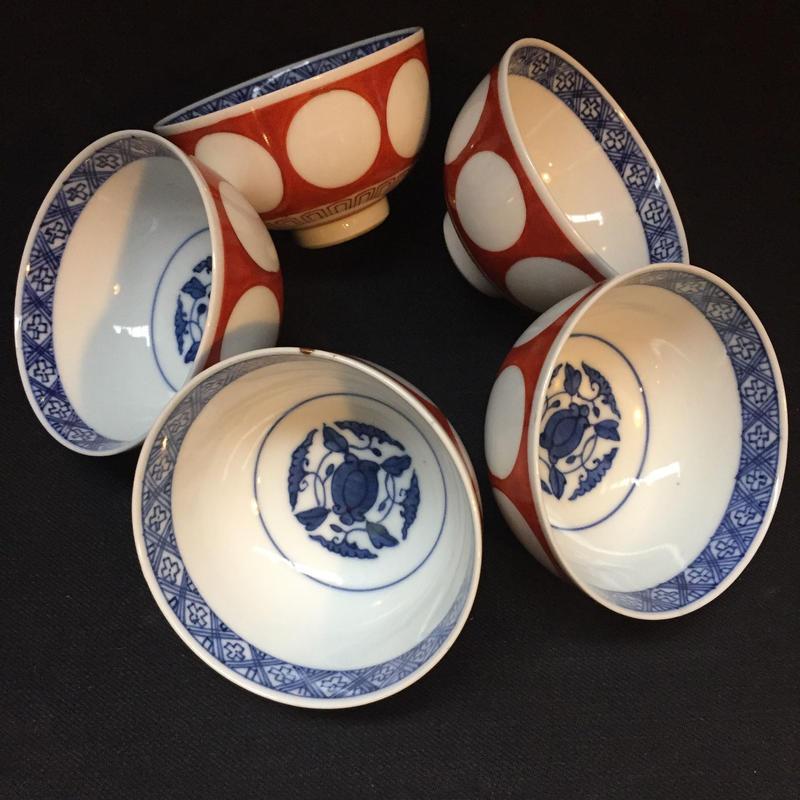 Japan Antique 角福 古伊万里 古染付 江戸期 古九谷 煎茶碗 金継 湯呑 湯のみ 5客