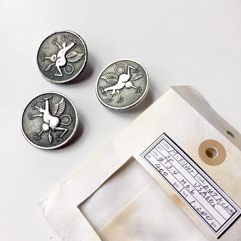 Vintage button/ヴィンテージボタン MSV047/Metal Silver/3pcs set