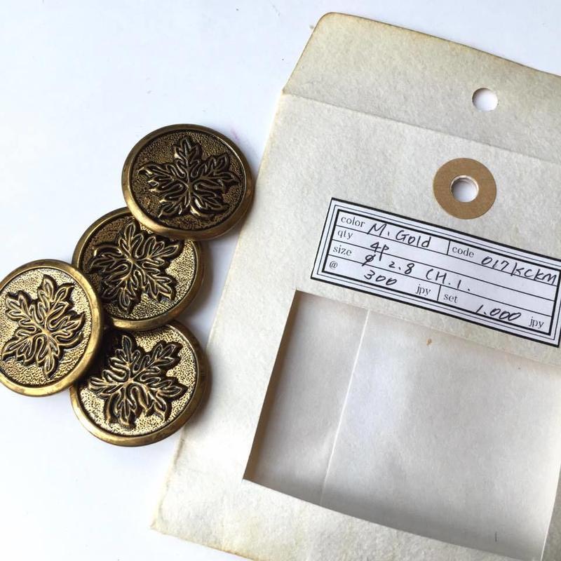 Vintage button/ヴィンテージボタン MGD017/Metal Gold/4pcs set
