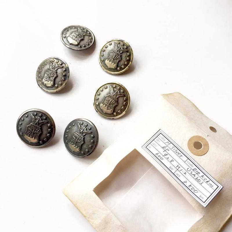 Vintage button/ヴィンテージボタン  MSV010/Metal Silver/6pcs set