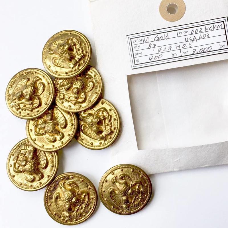 Vintage button/ヴィンテージボタン MGD002/Metal Gold/8pcs set