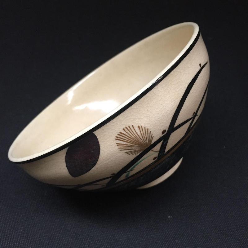 Japan Vintage 茶道具 茶碗 抹茶 京焼 信宗寺 清宗 清閑 在銘 金彩 草花紋 水玉