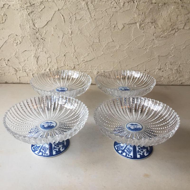林九郎窯  ガラス+磁器  ガラス高台鉢 ガラス脚付きデザート鉢 コンポート 芙蓉手 未使用