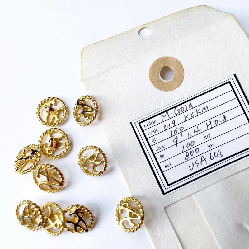 Vintage button/ヴィンテージボタン MGD019/Metal Gold/10pcs set