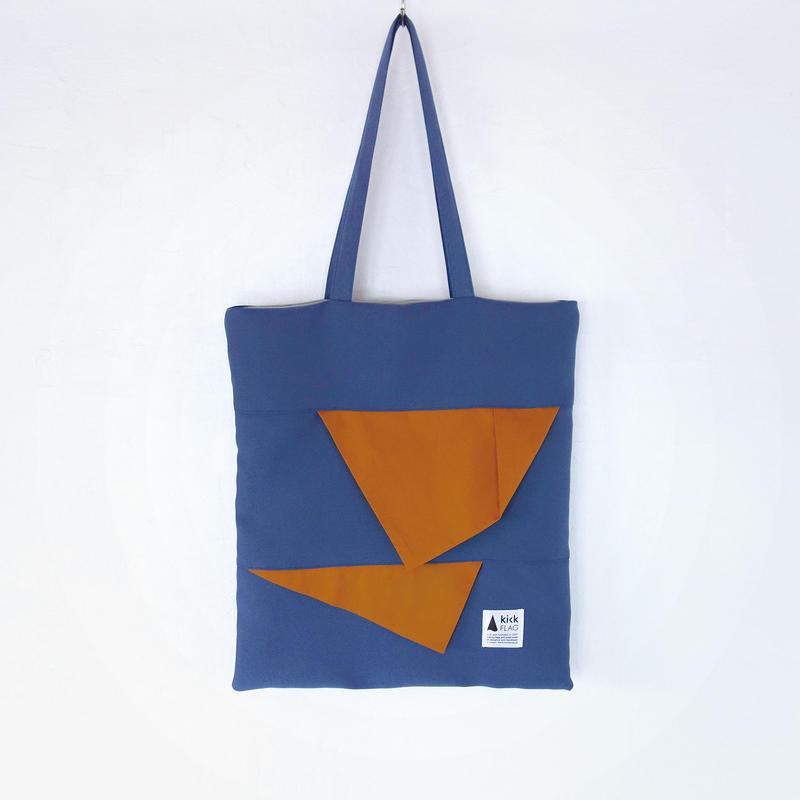 square bag(ブルーグレー・キャメル)