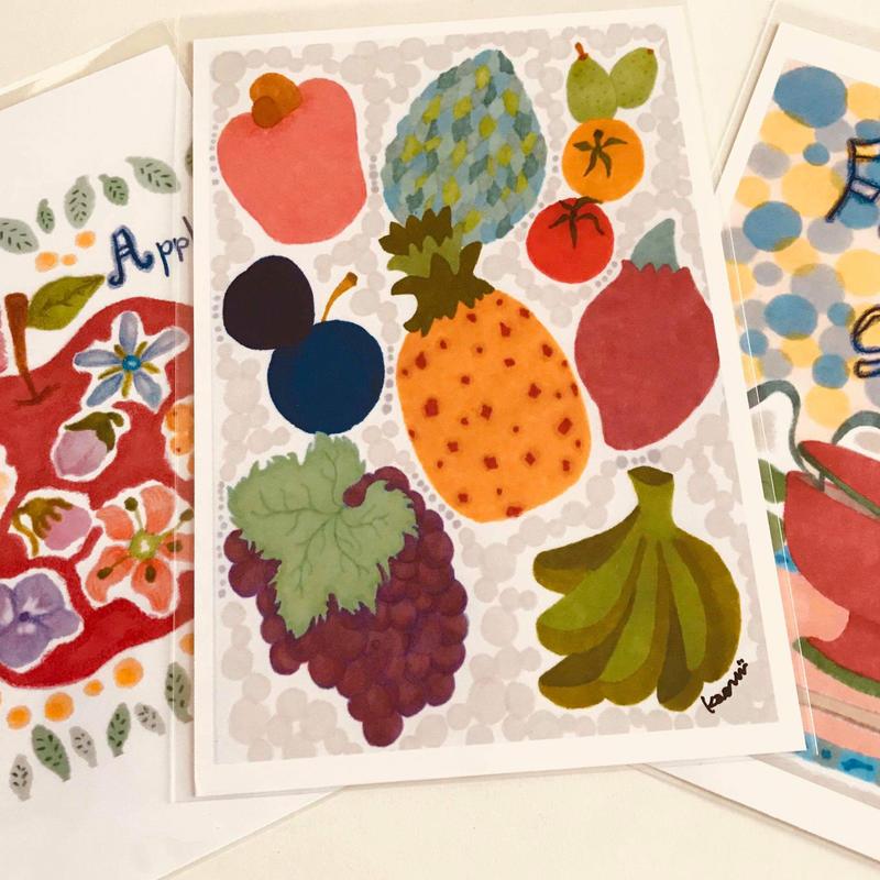 ポストカード3枚セット(花とりんご、いろいろフルーツ、季節のおいしいもの)