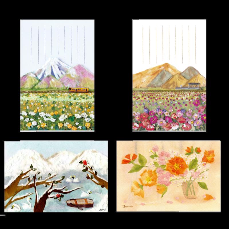 和紙はり絵 風景とお花